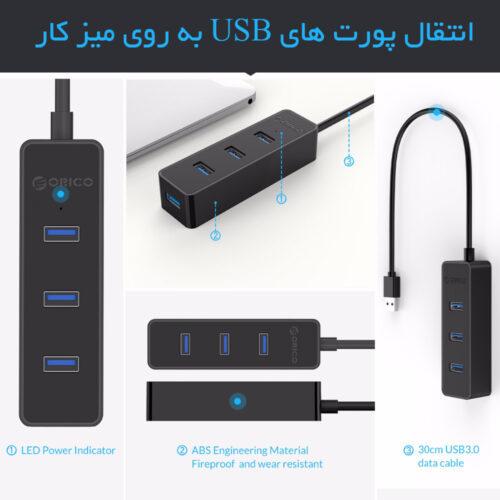 هاب 4 پورت USB 3.0 مدل ORICO W5PH4-U3
